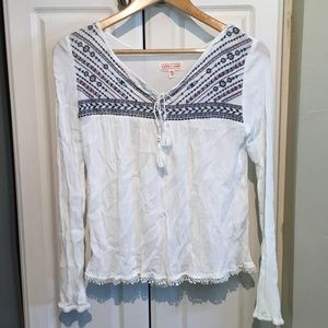 Cape Juby Embroidered Peasant Top Size Small